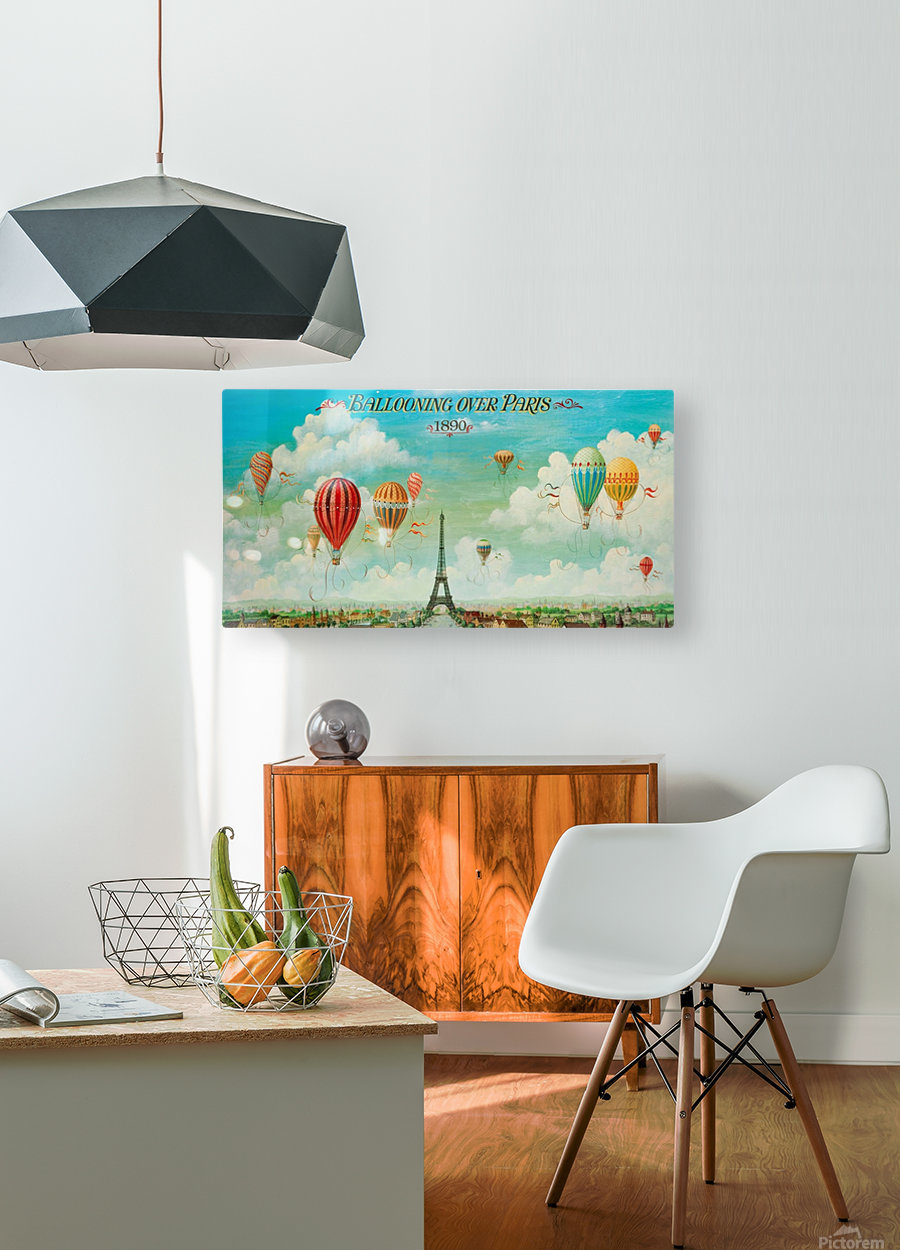 Ballooning over Paris  HD Metal print with Floating Frame on Back