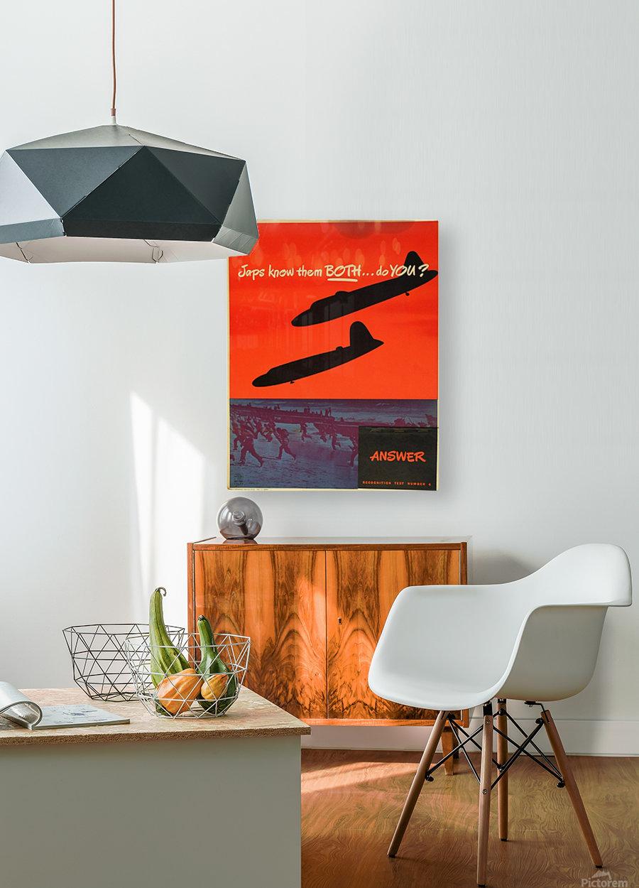 Recognition test vintage poster  HD Metal print with Floating Frame on Back