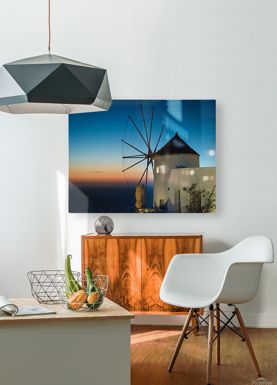 Mills Oia Night  HD Metal print with Floating Frame on Back