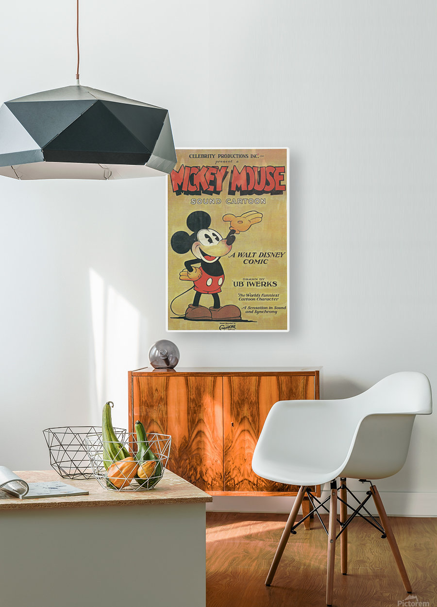 Mickey Mouse Sound Cartoon  HD Metal print with Floating Frame on Back