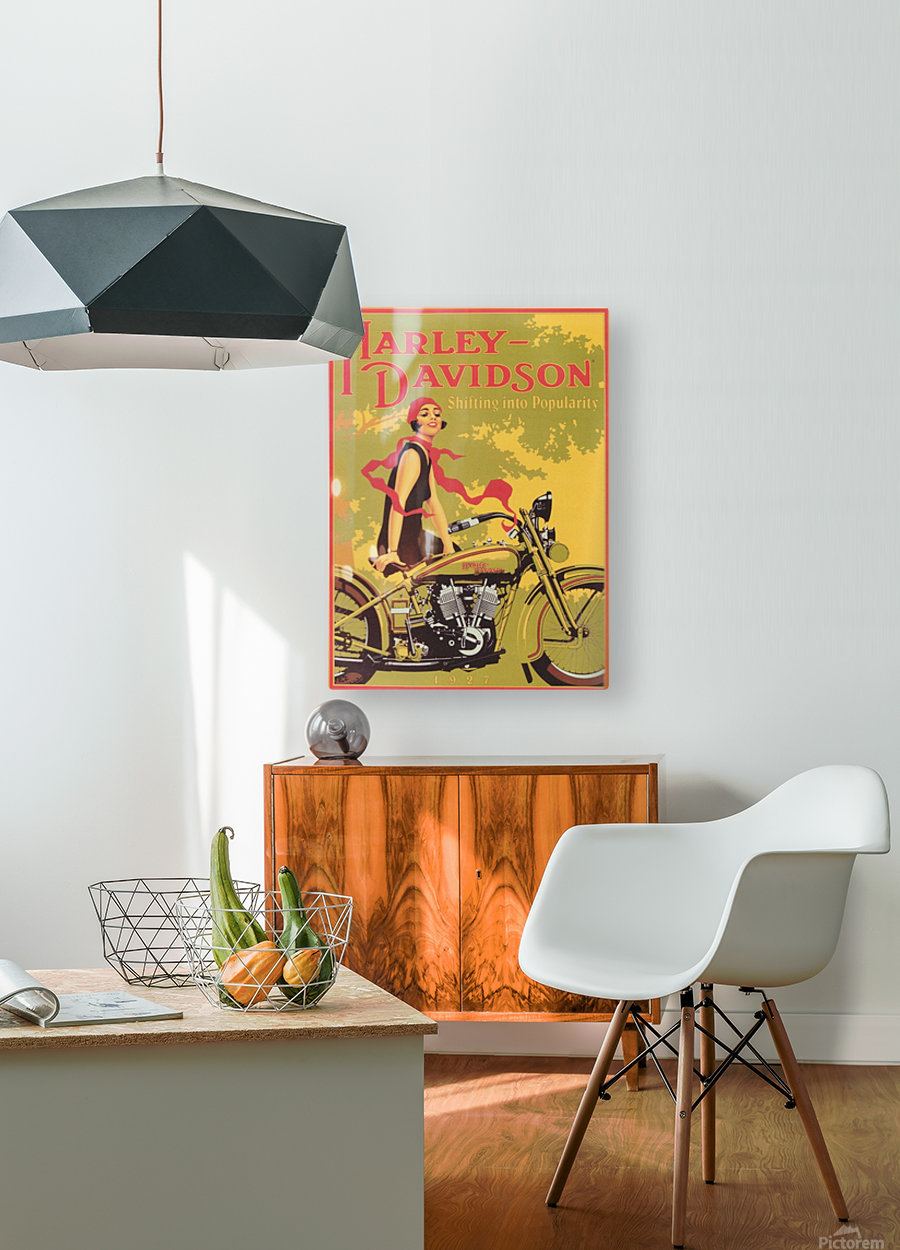 1929 Harley Davidson Shifting into Popularity  HD Metal print with Floating Frame on Back