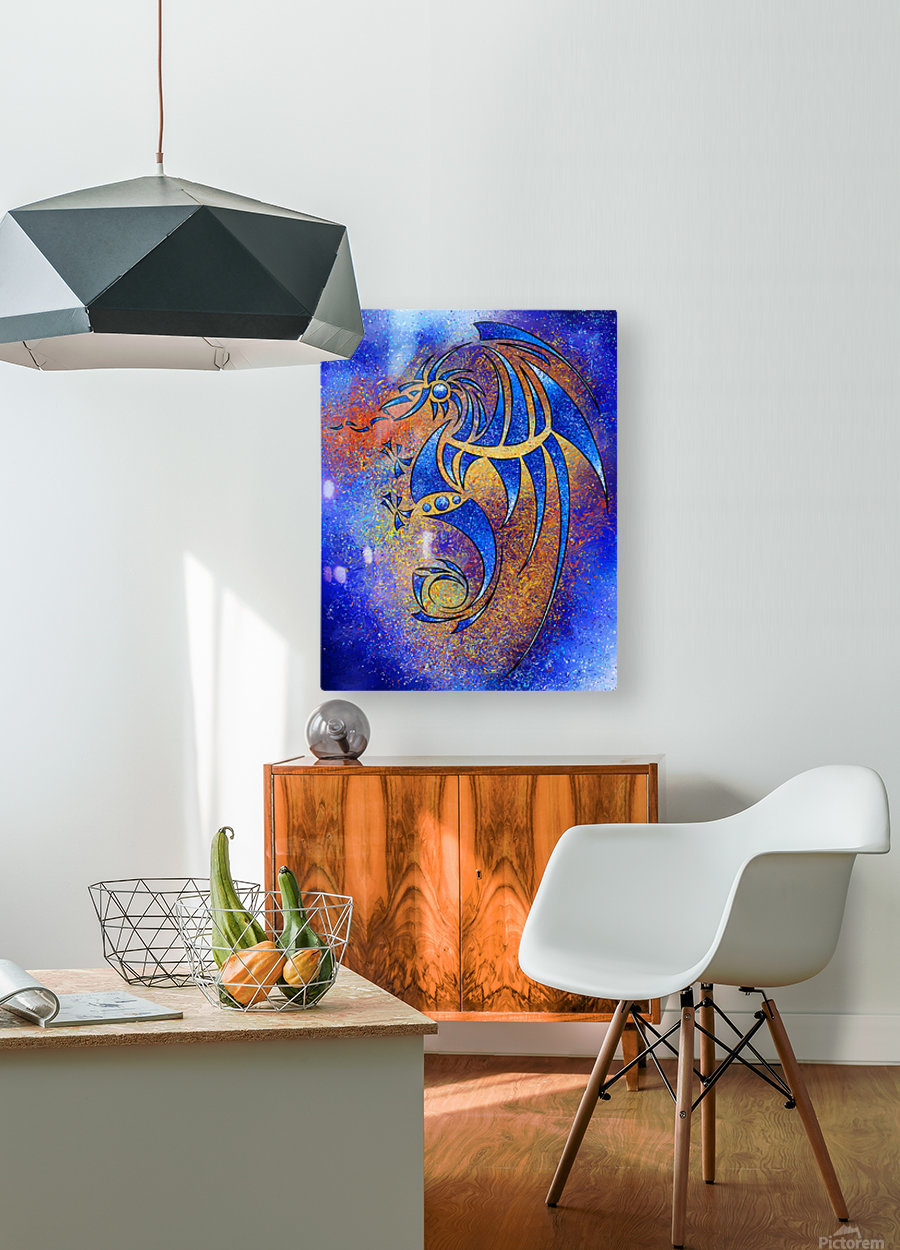 Dragissous V1 - blue dragon  HD Metal print with Floating Frame on Back