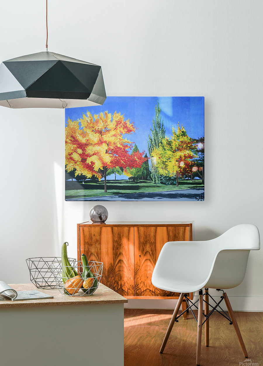 College Trees  HD Metal print with Floating Frame on Back