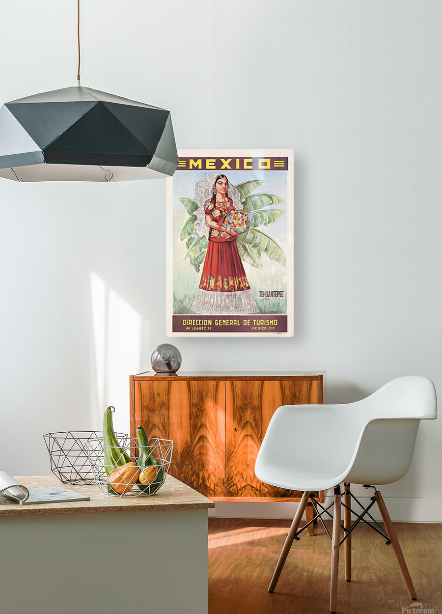 Mexico Tehuantepec vintage poster  HD Metal print with Floating Frame on Back
