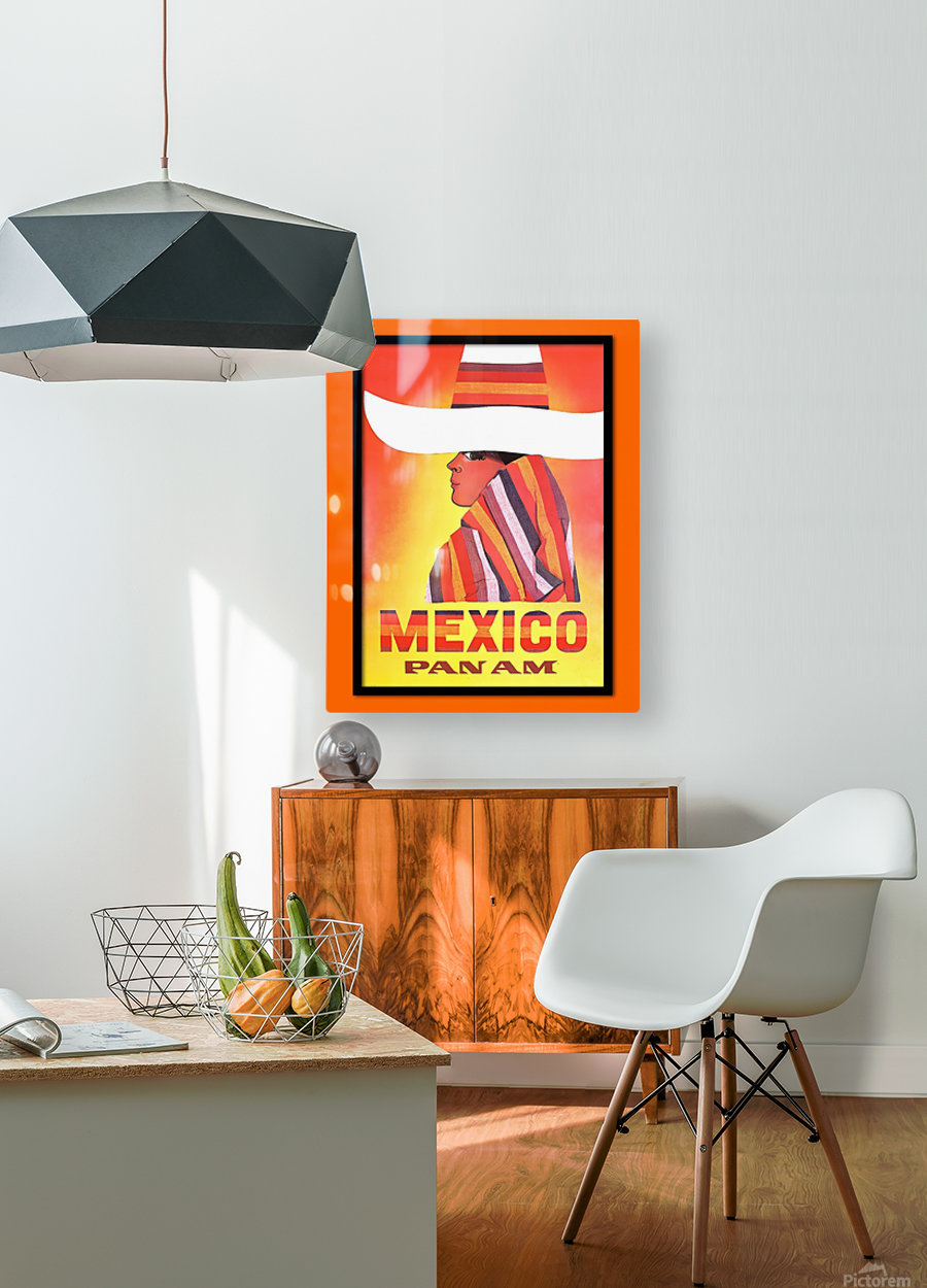 Mexico Travel Print 1968  HD Metal print with Floating Frame on Back