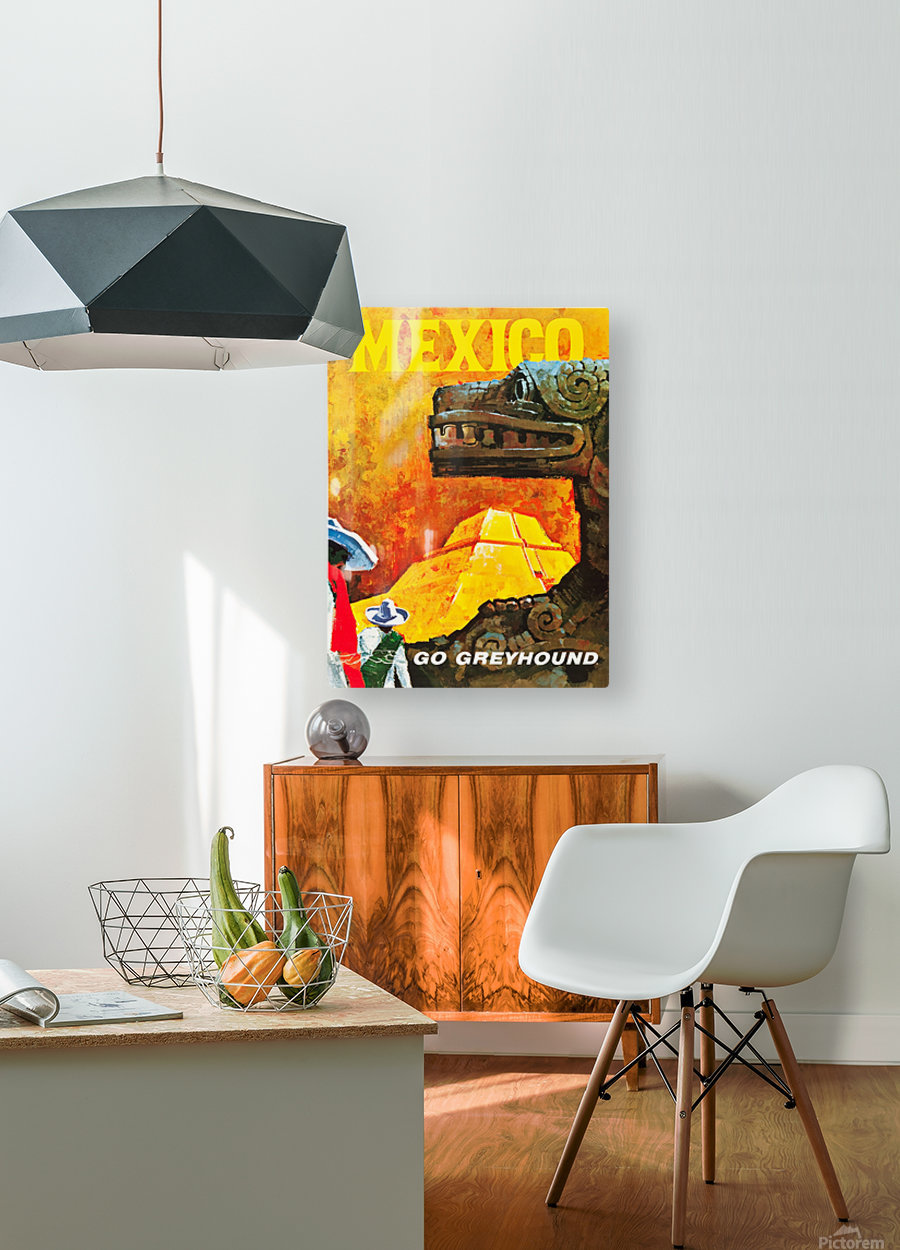 Mexico Go Greyhound Travel Poster  HD Metal print with Floating Frame on Back