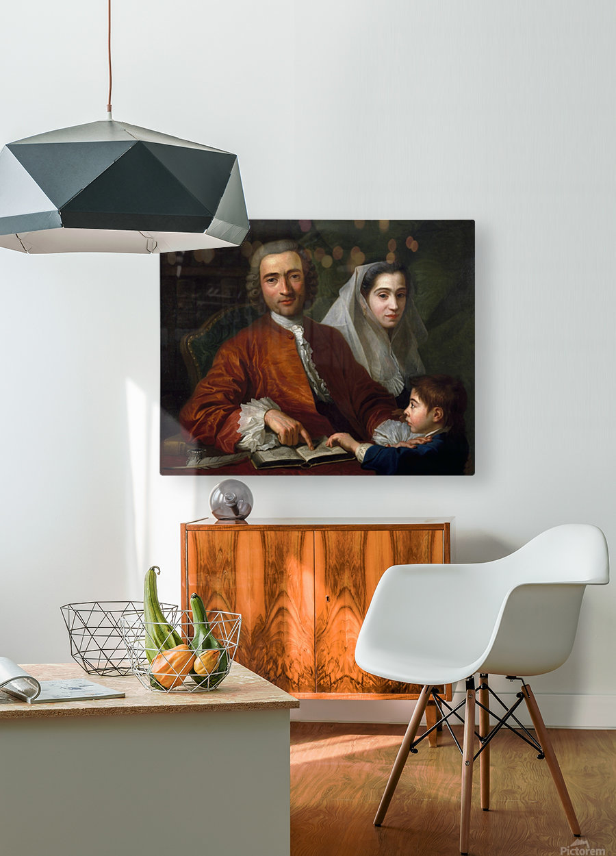 Dr Savatore Bernard with his wife and son  HD Metal print with Floating Frame on Back