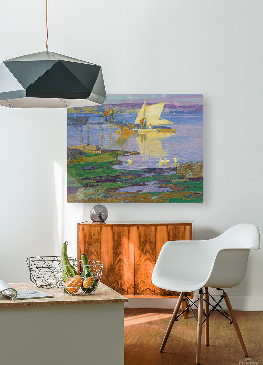 A boat with people by the dock  HD Metal print with Floating Frame on Back