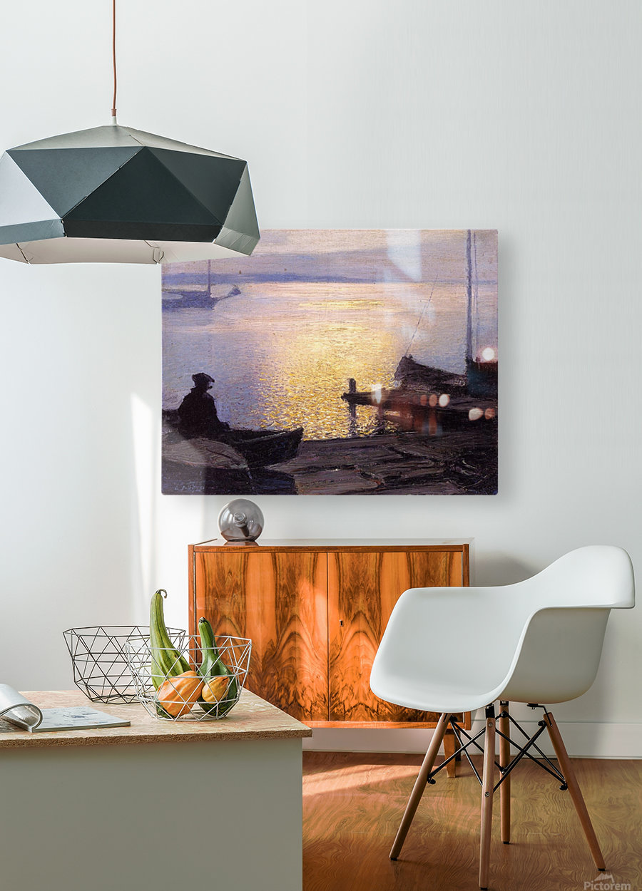 Fisherman in the sunset  HD Metal print with Floating Frame on Back
