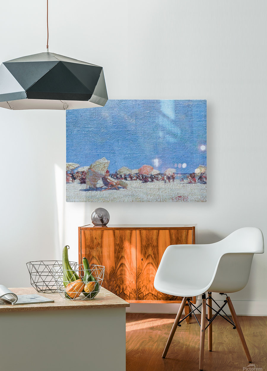 People on the beach  HD Metal print with Floating Frame on Back