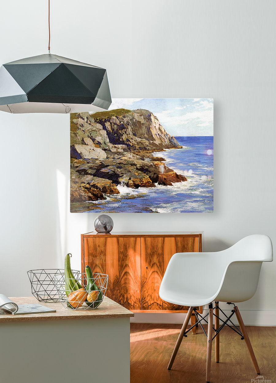 Cliffs and the sea landscape  HD Metal print with Floating Frame on Back