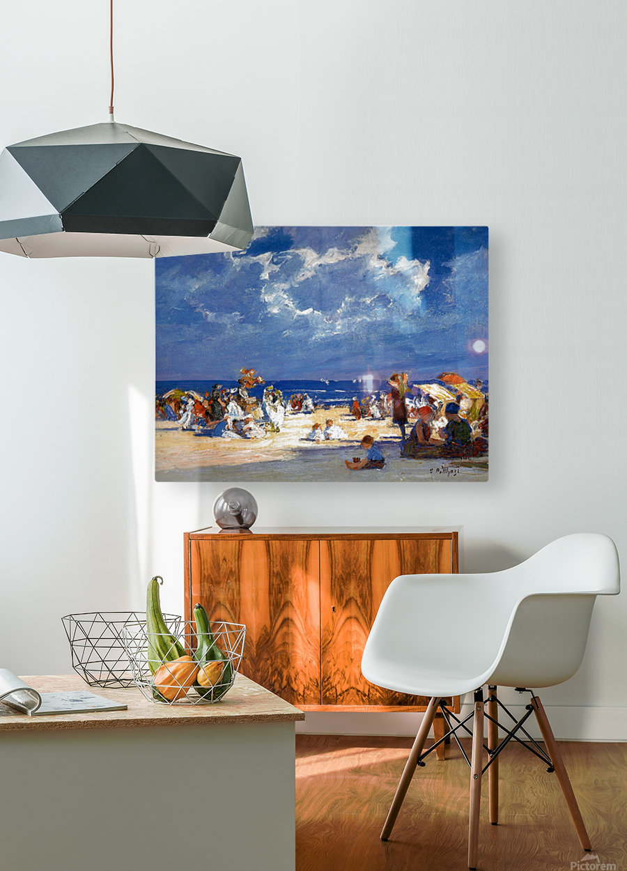 People by the beach  HD Metal print with Floating Frame on Back