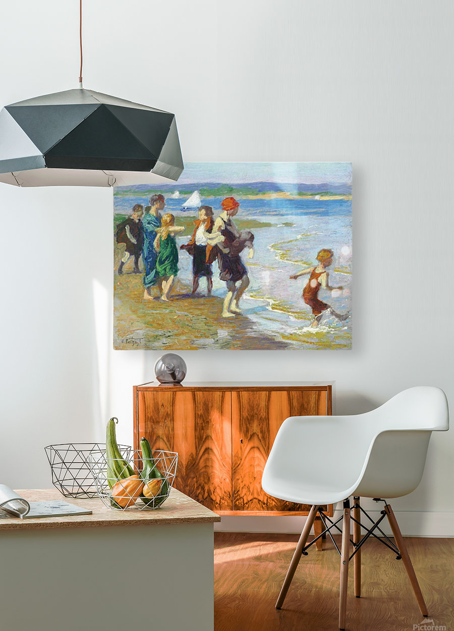 The bathing beach  HD Metal print with Floating Frame on Back