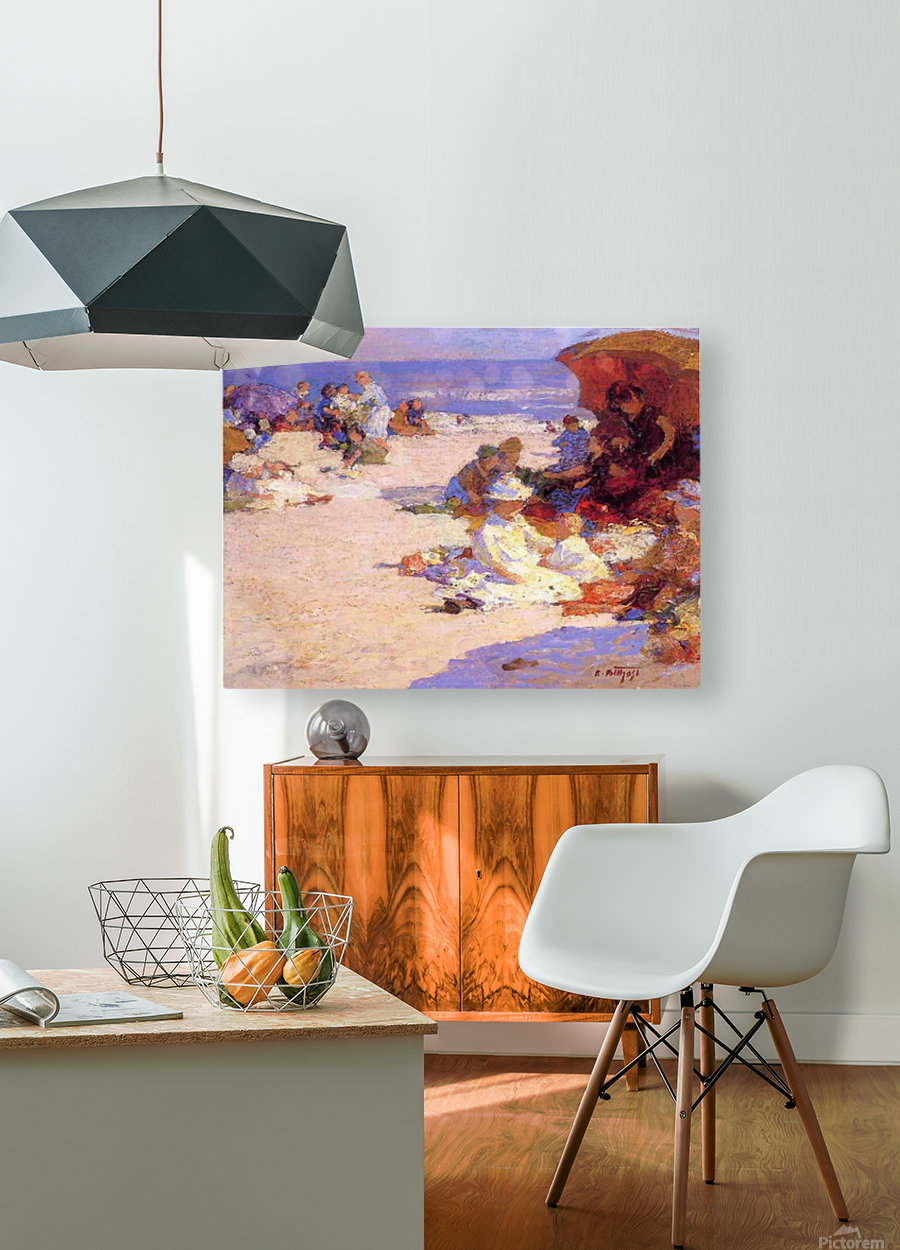 Picknickers on the Beach  HD Metal print with Floating Frame on Back
