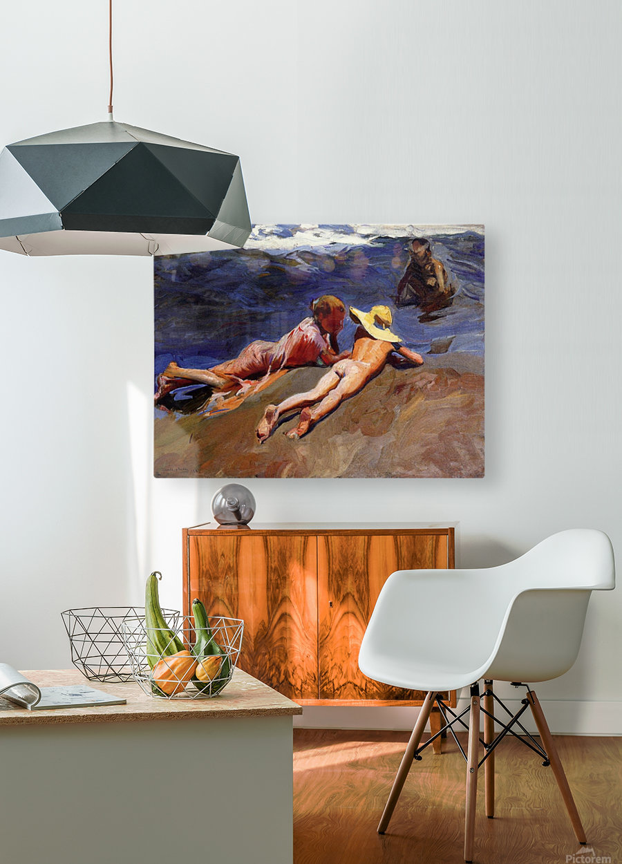 Bathers at Valencia  HD Metal print with Floating Frame on Back