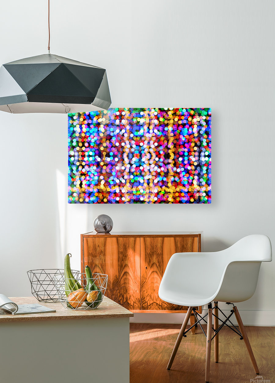 bokeh multicolor  HD Metal print with Floating Frame on Back