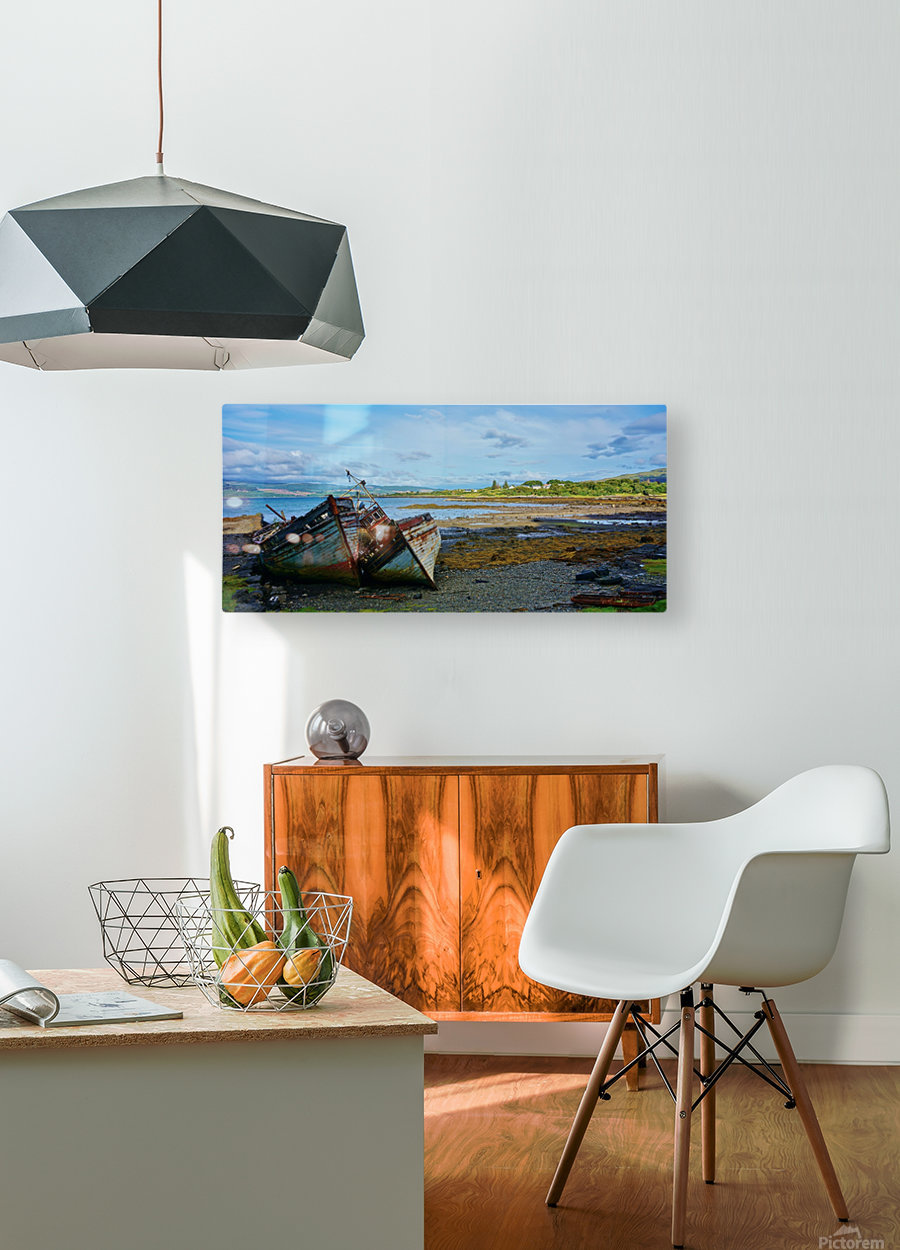 Leaning wrecks  HD Metal print with Floating Frame on Back