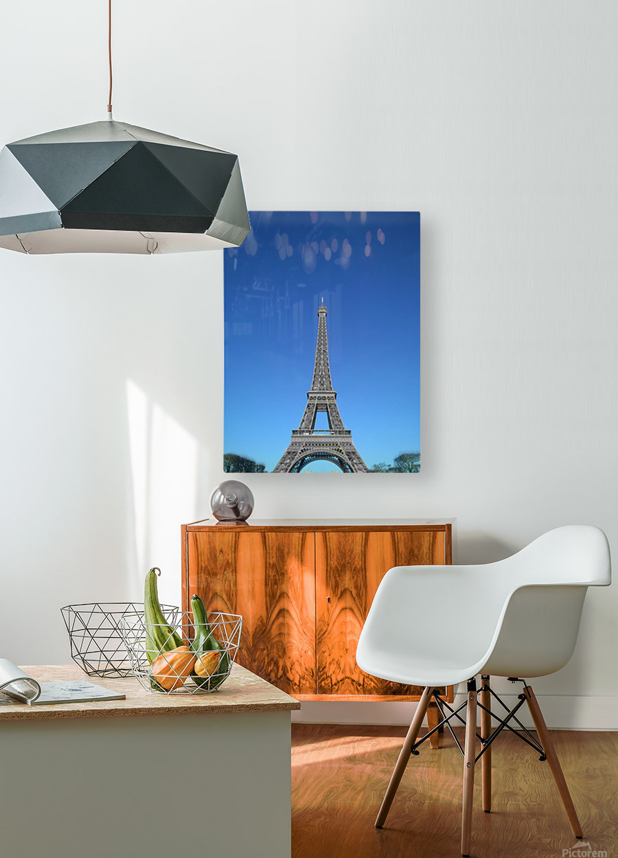 Eiffel tower Paris black and white with color  HD Metal print with Floating Frame on Back