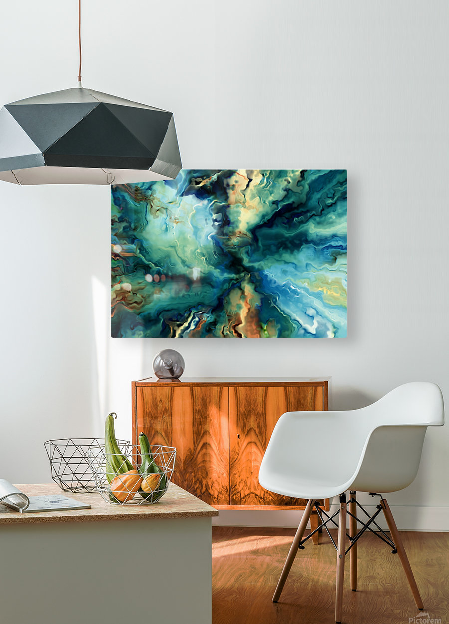 Oil Painting Abstract Color Line Wave Design  HD Metal print with Floating Frame on Back