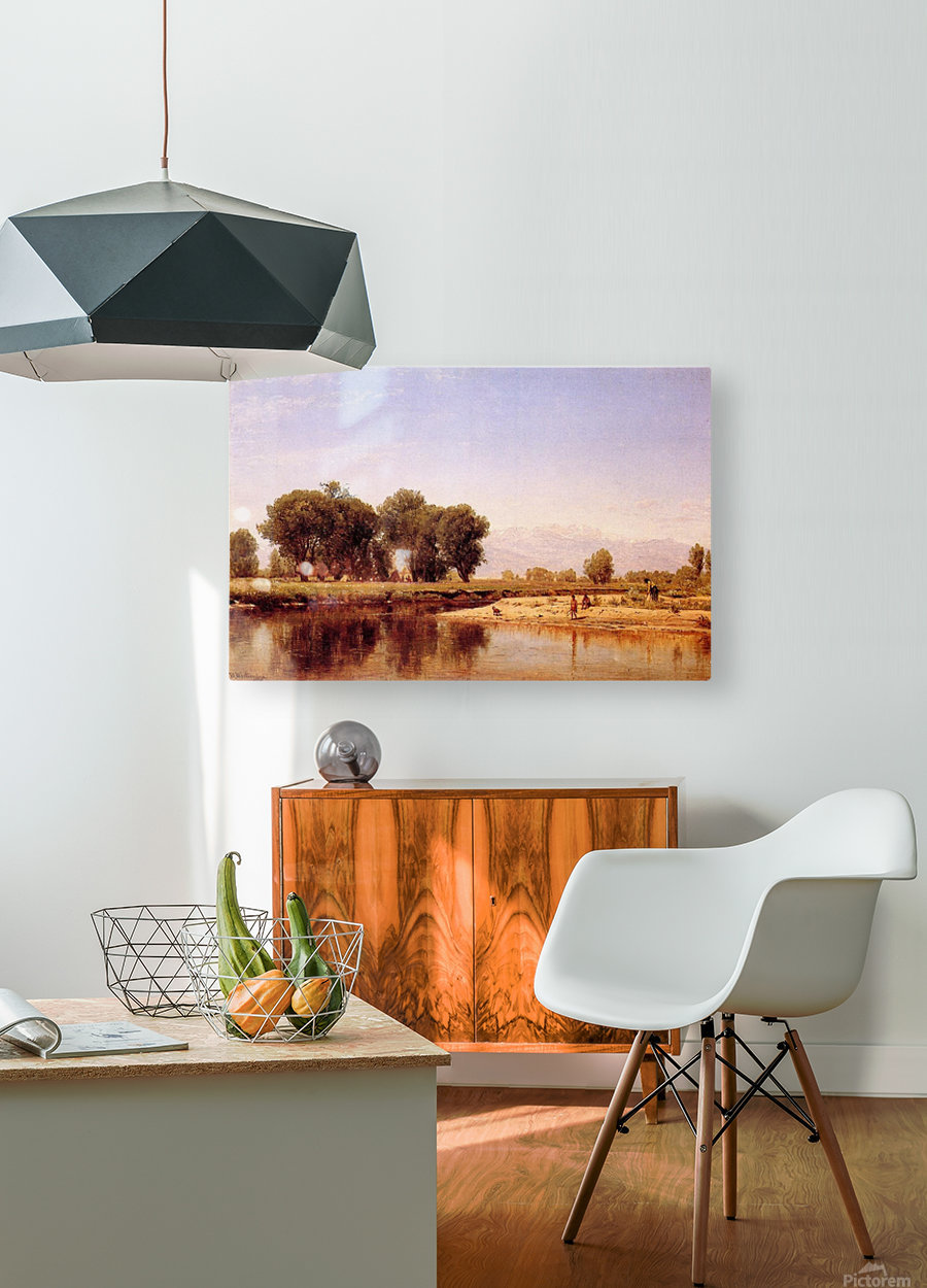 Indian Emcampment on the Platte River  HD Metal print with Floating Frame on Back