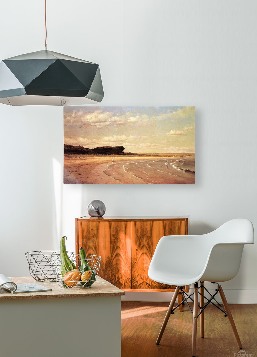 Second Beach Newport in sunset  HD Metal print with Floating Frame on Back