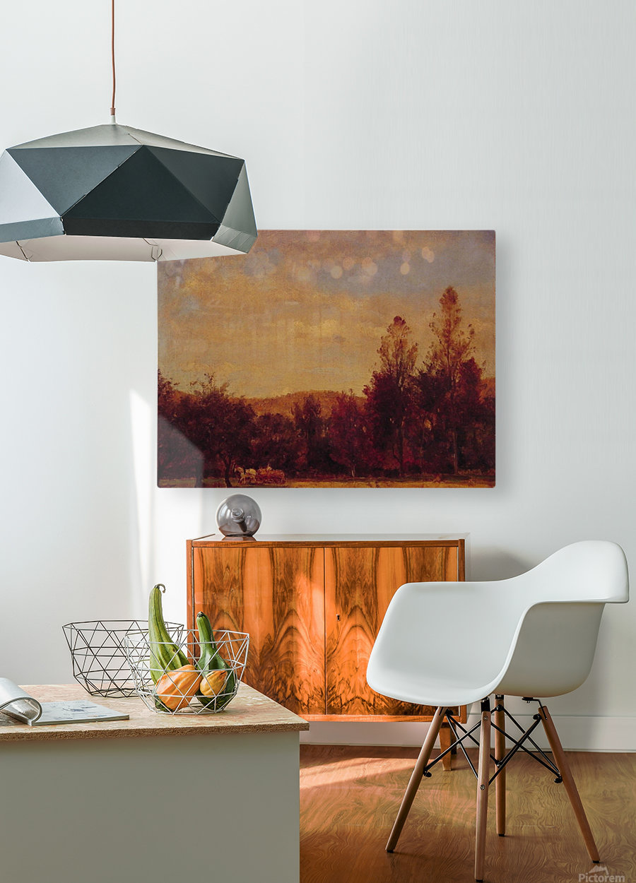 Gathering the Buckwheat  HD Metal print with Floating Frame on Back