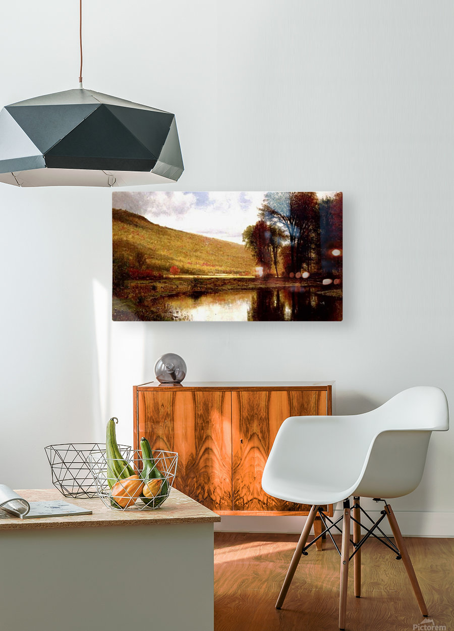 Landscape with a lake  HD Metal print with Floating Frame on Back