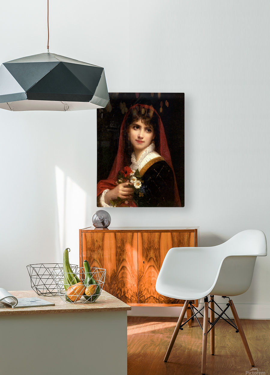 A young beauty wearing a red veil  HD Metal print with Floating Frame on Back