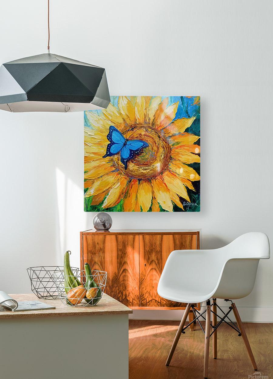 Подсолнух и бабочка  HD Metal print with Floating Frame on Back