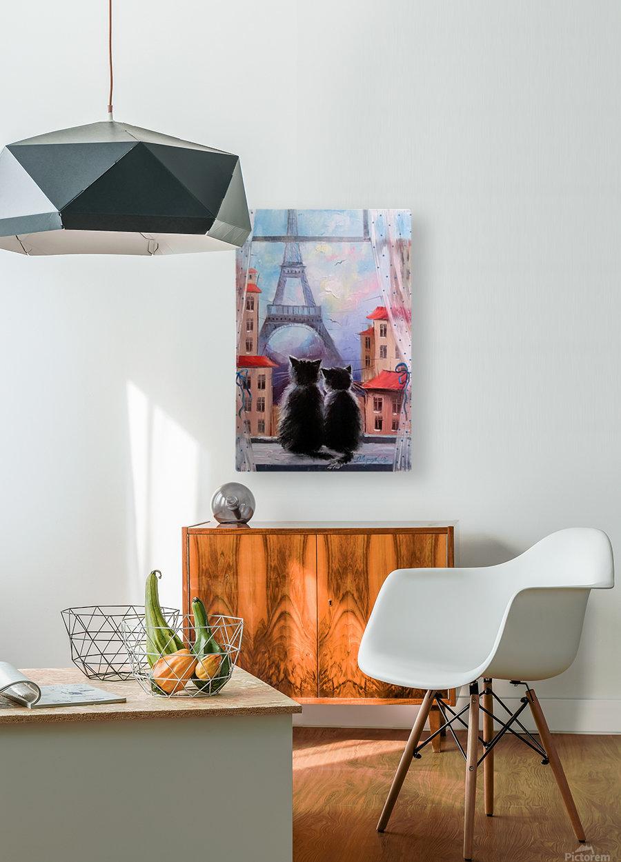 Друзя в Париже  HD Metal print with Floating Frame on Back