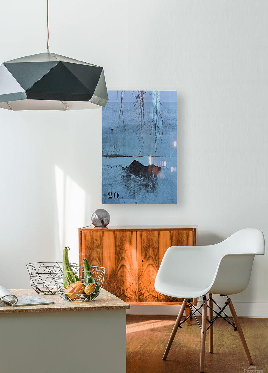 blue wall  HD Metal print with Floating Frame on Back