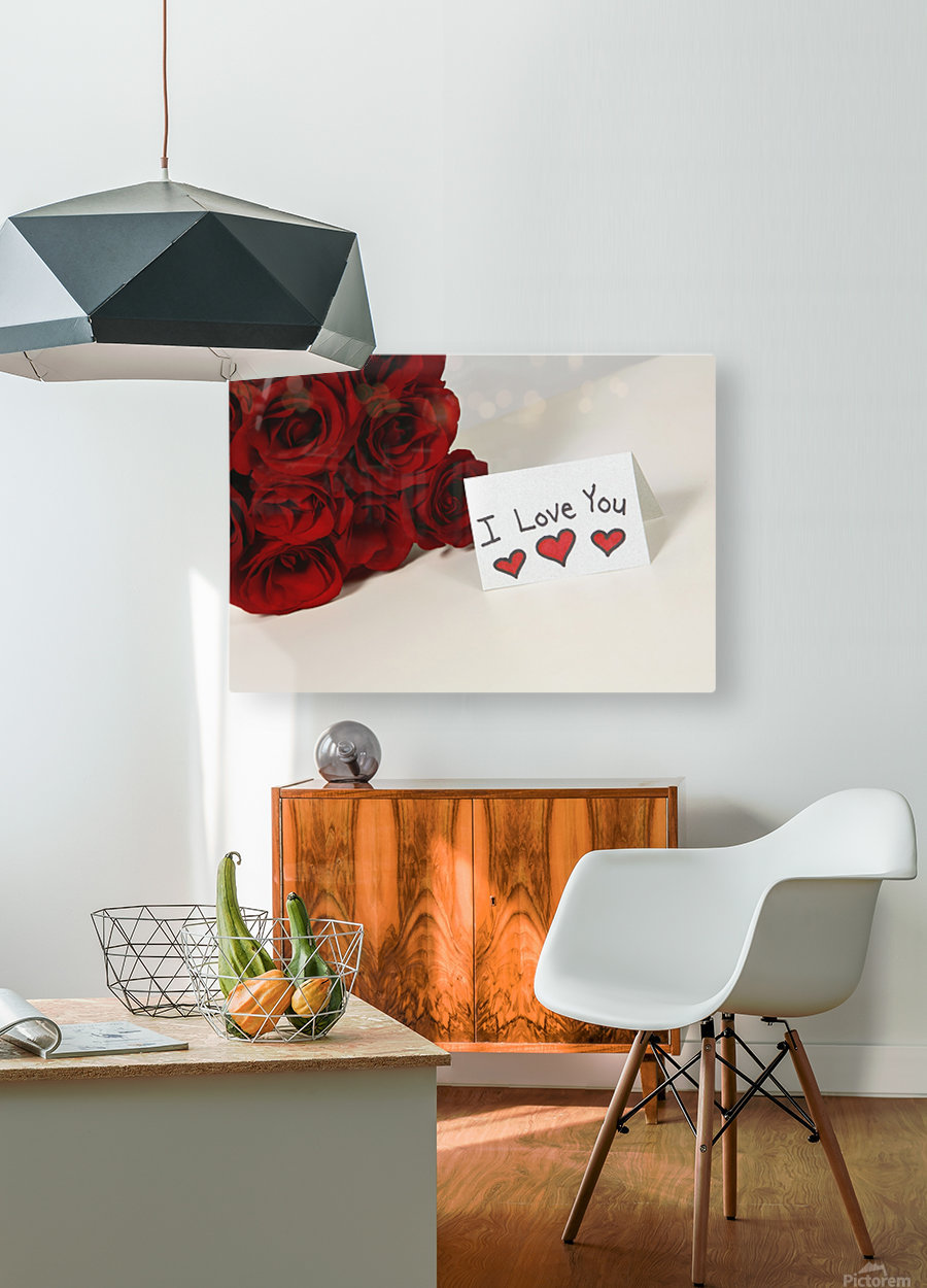 I Love You Card Beside Roses  HD Metal print with Floating Frame on Back