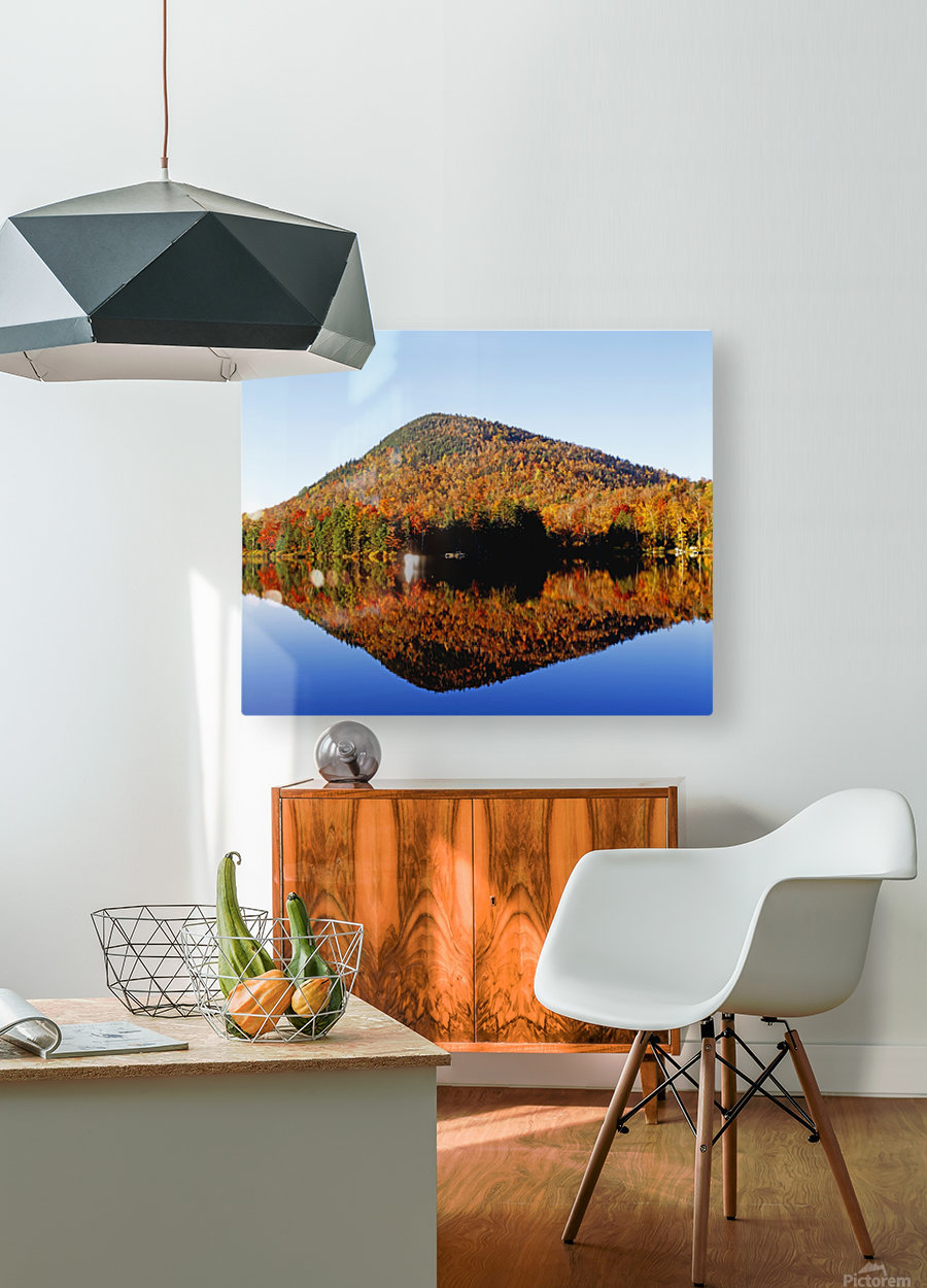 Autumn Colours Reflected In Water, Eastern Townships, Quebec, Canada  HD Metal print with Floating Frame on Back