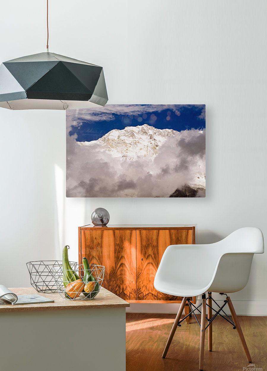 Aerial View Of Mountains, Annapurna Sanctuary, Nepal  HD Metal print with Floating Frame on Back