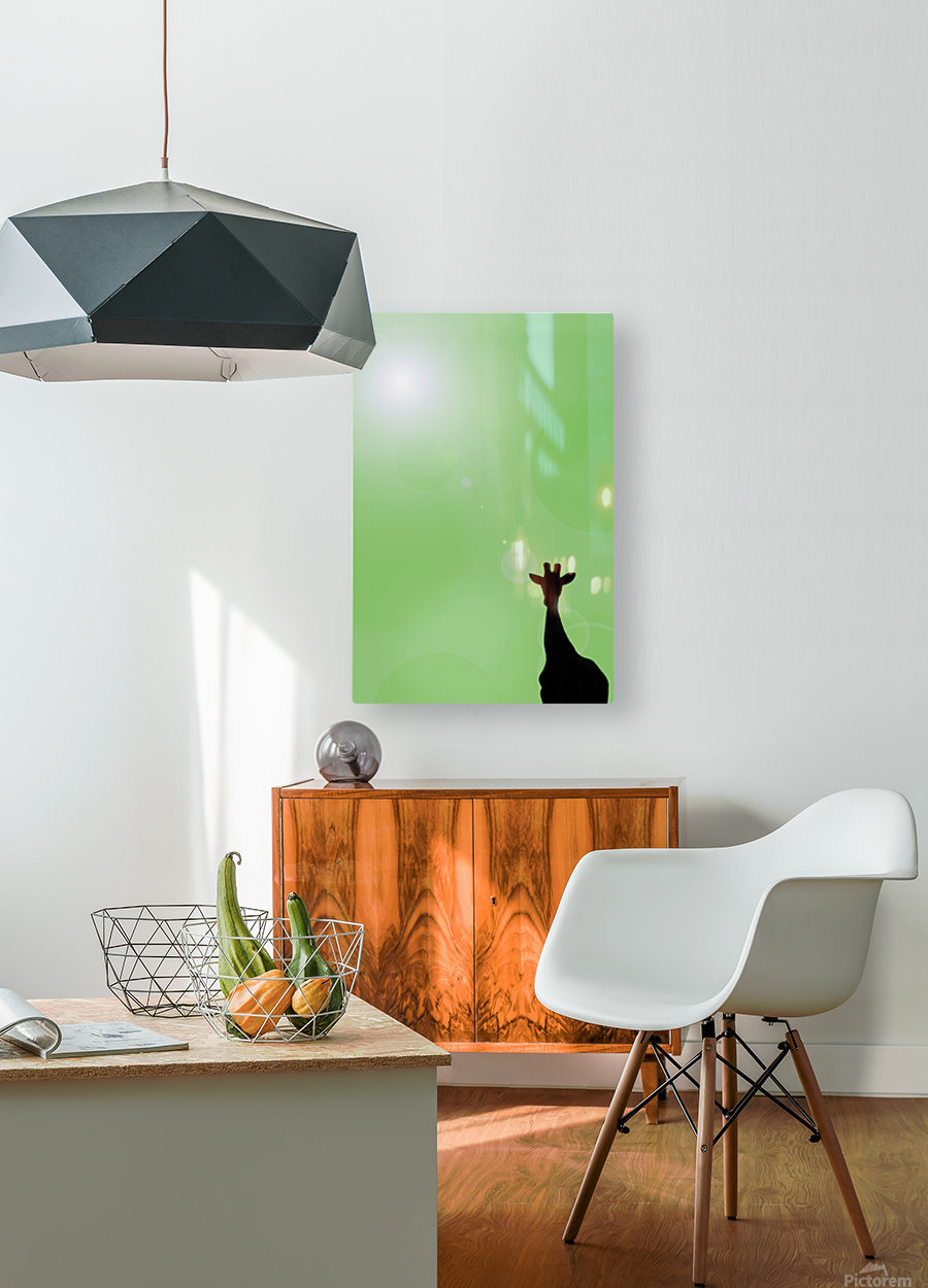 Silhouette Of A Giraffe  HD Metal print with Floating Frame on Back