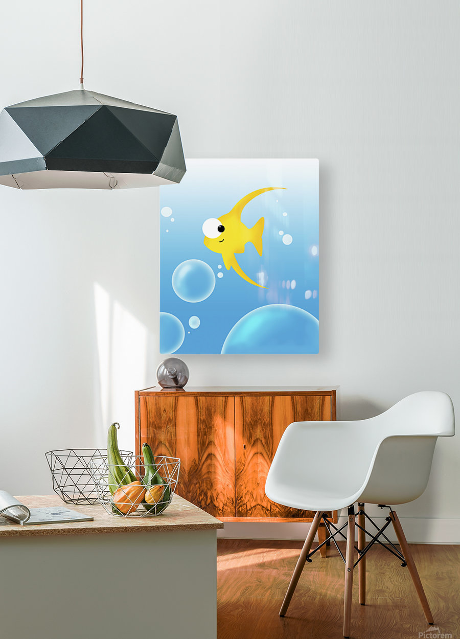 Illustration Of Fish And Bubbles  HD Metal print with Floating Frame on Back