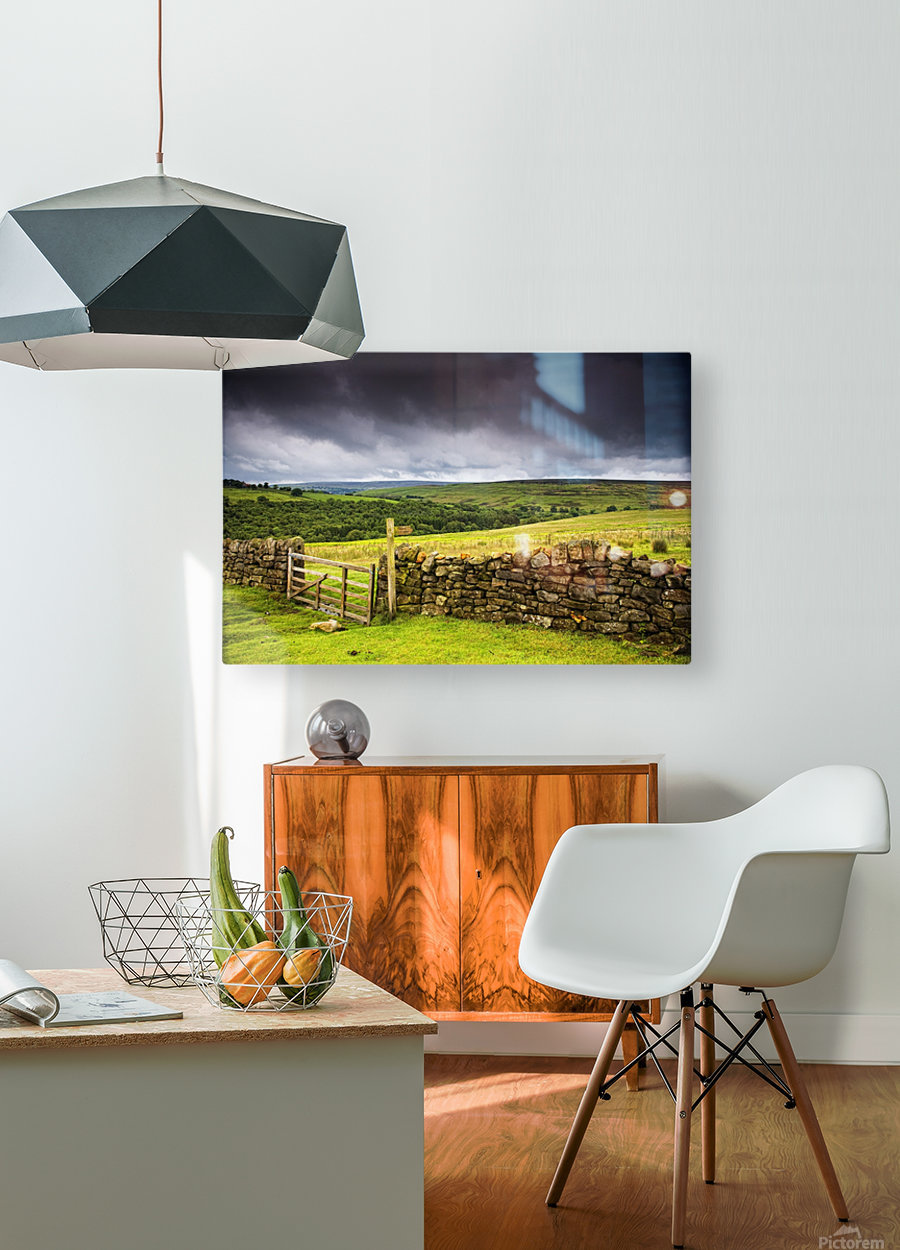 Stone Fence, Yorkshire, England  HD Metal print with Floating Frame on Back