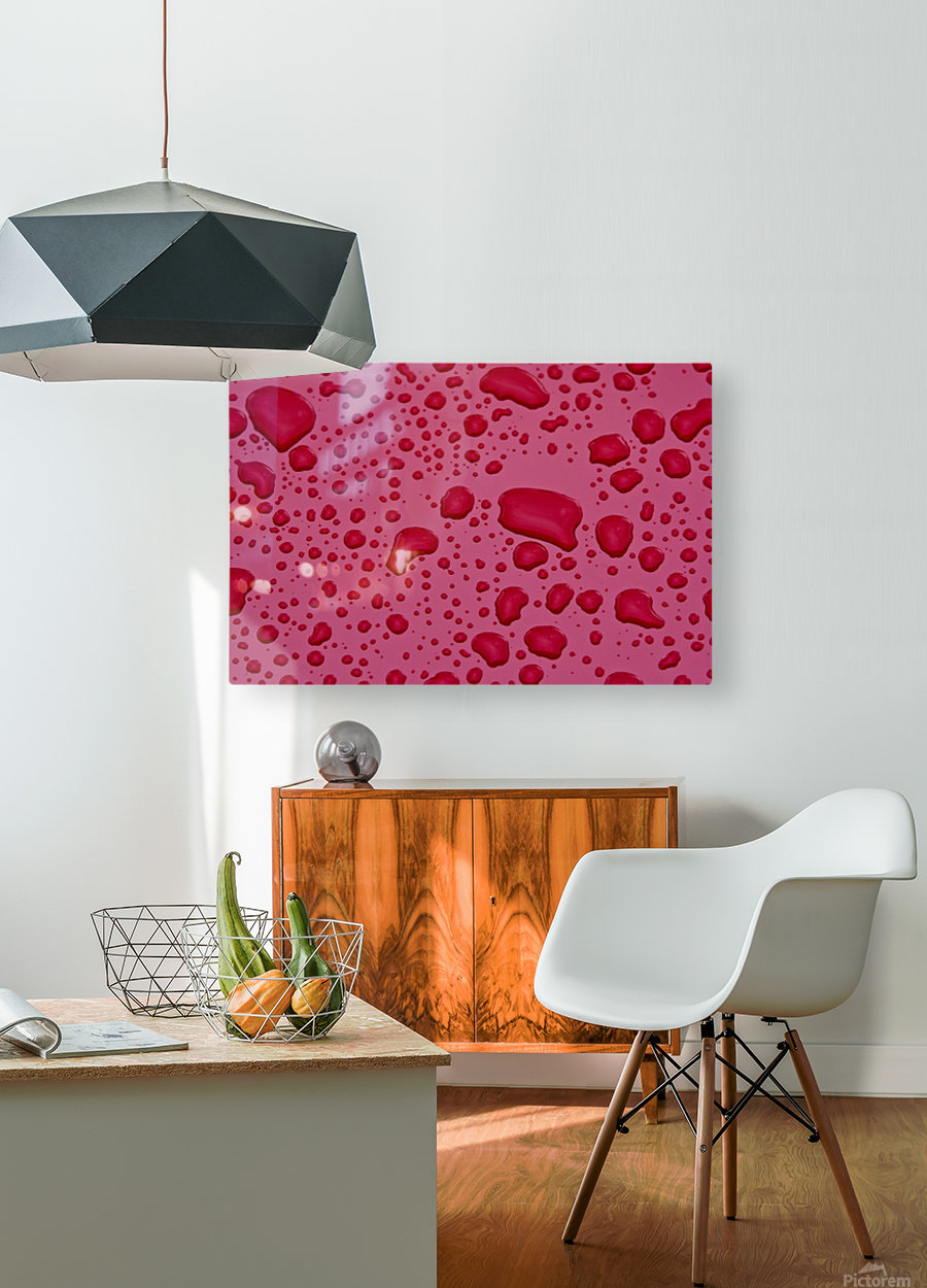 Water Drops On Pink Surface  HD Metal print with Floating Frame on Back