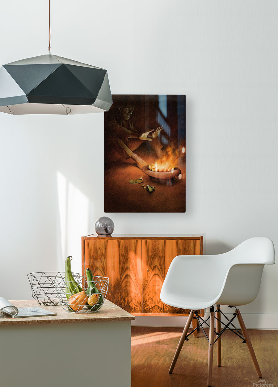 Money on Fire  HD Metal print with Floating Frame on Back