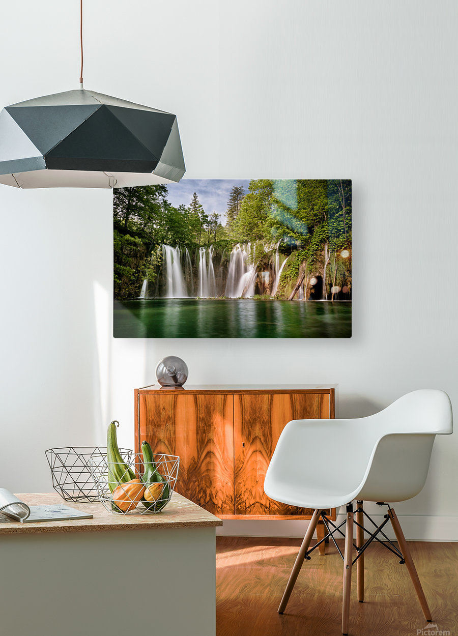 Idyllic Waterfall at Plitvice Lakes  HD Metal print with Floating Frame on Back
