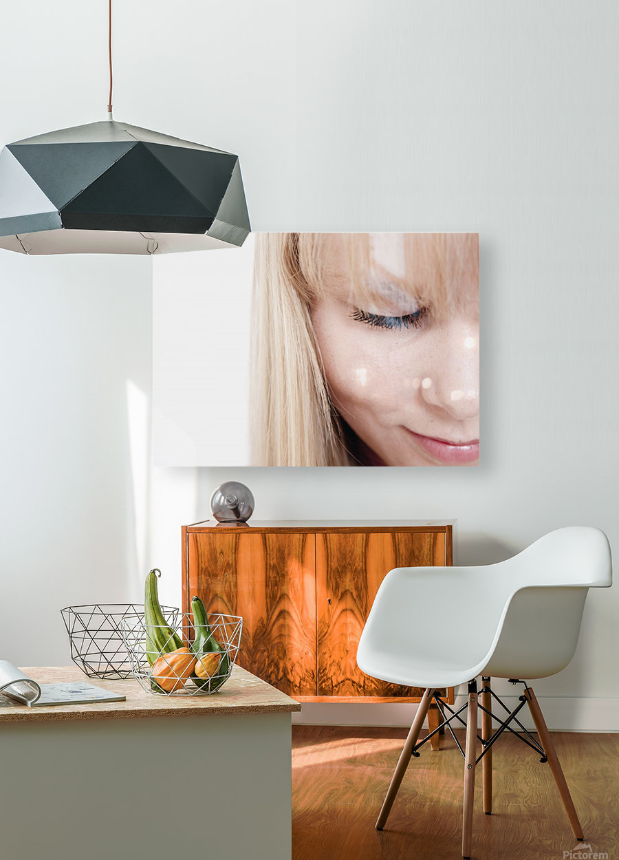 Closeup Of A Woman's Face  HD Metal print with Floating Frame on Back