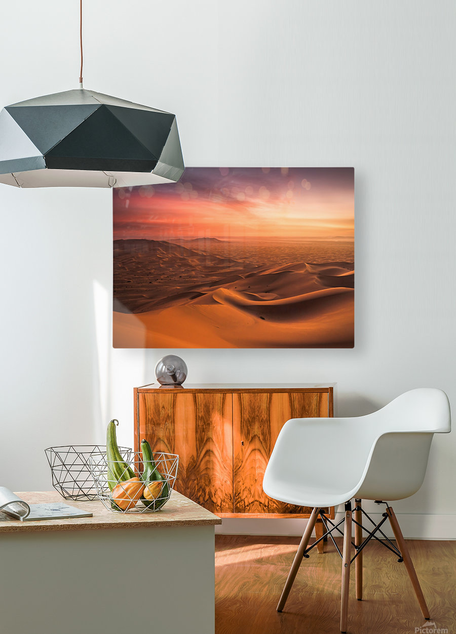 Sunset in the Desert  HD Metal print with Floating Frame on Back