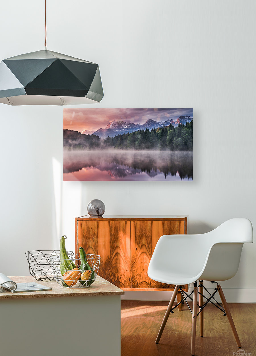 Sunrise at a Lake with Alps in the Background  HD Metal print with Floating Frame on Back