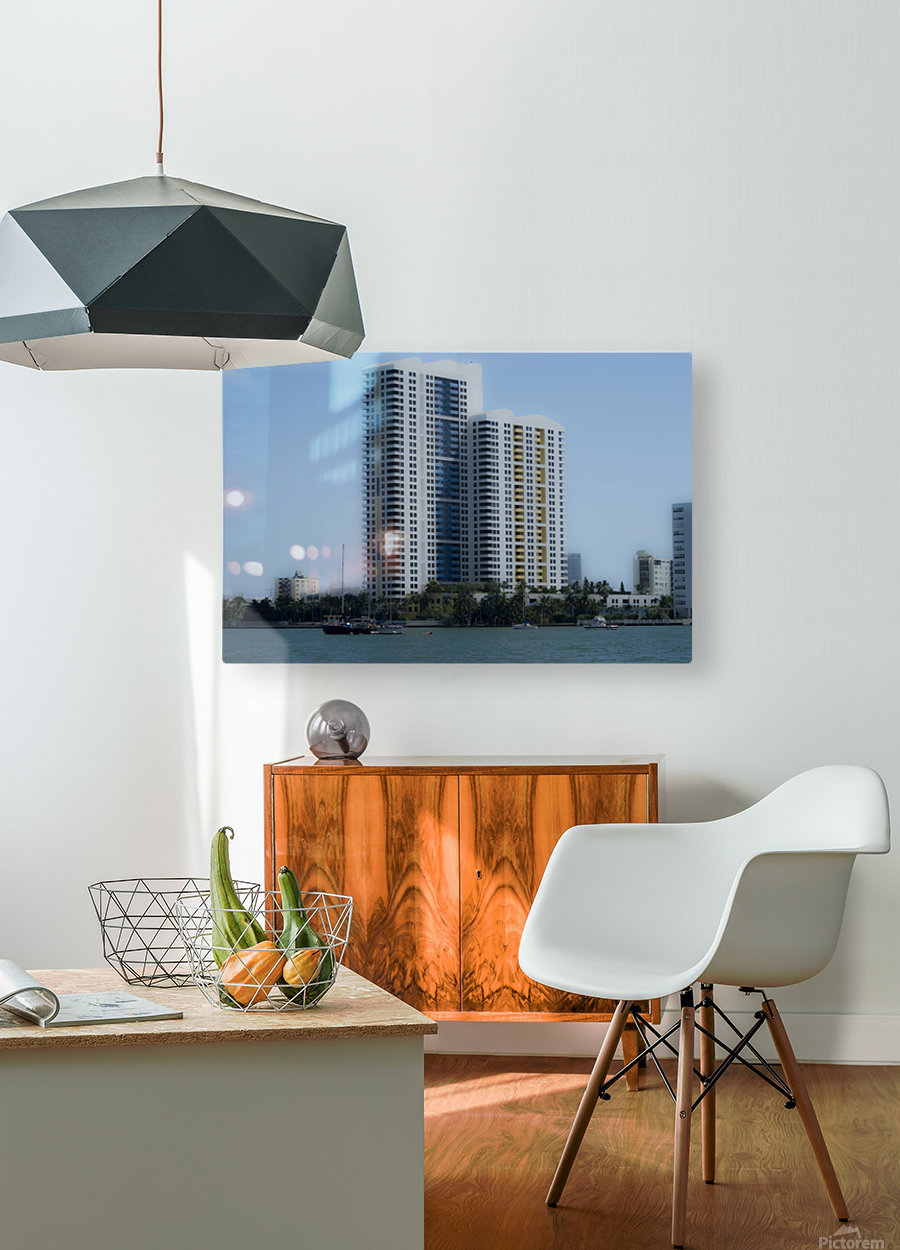 Miami Beach Buildings  HD Metal print with Floating Frame on Back