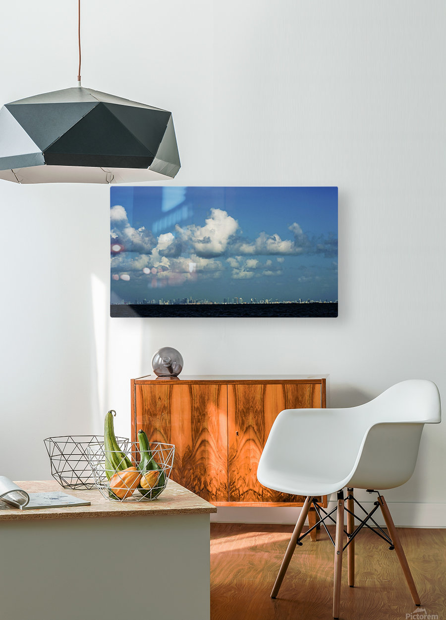 Miami Skyline  HD Metal print with Floating Frame on Back