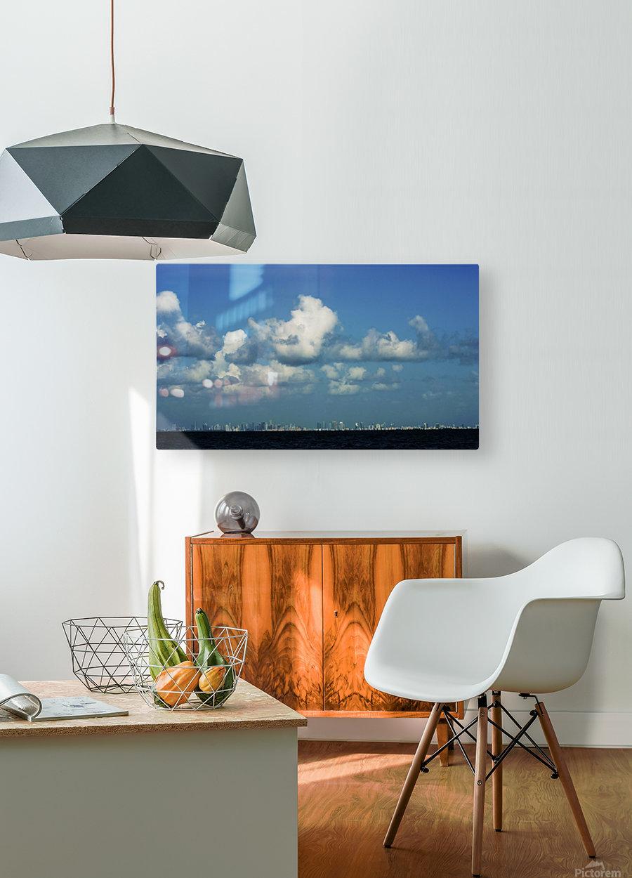 Miami Skyline  Impression métal HD avec cadre flottant sur le dos