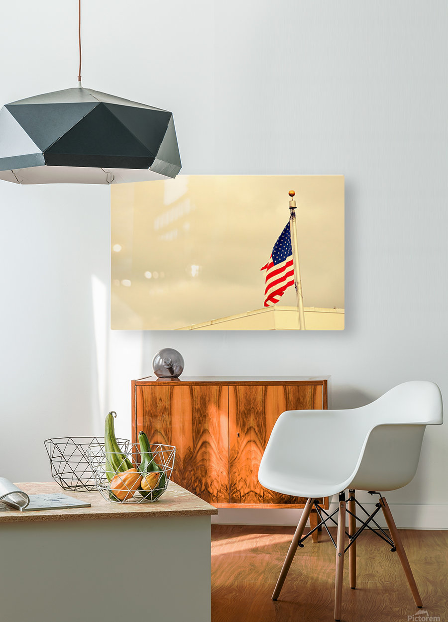 American Flag  HD Metal print with Floating Frame on Back