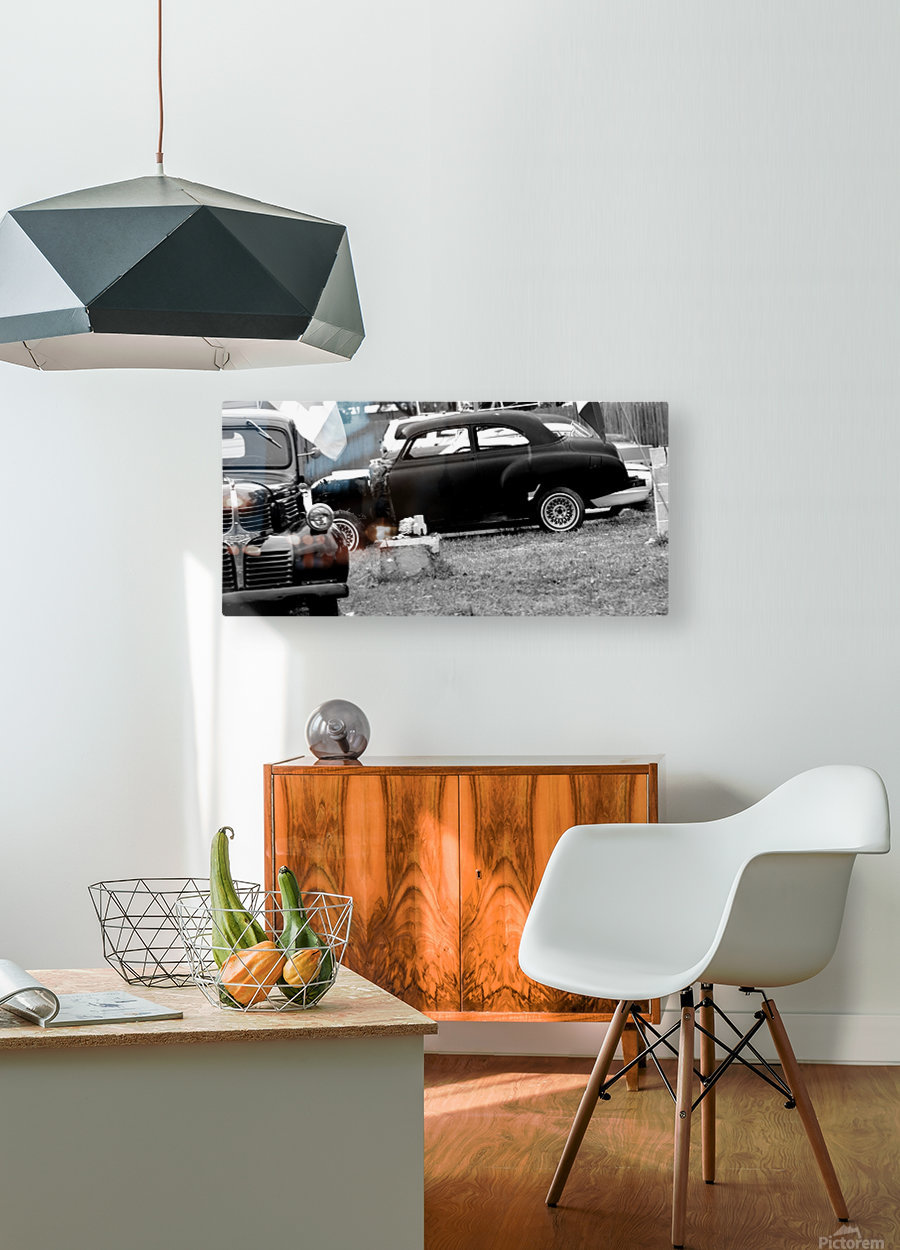 Black and White Vintage Cars  HD Metal print with Floating Frame on Back