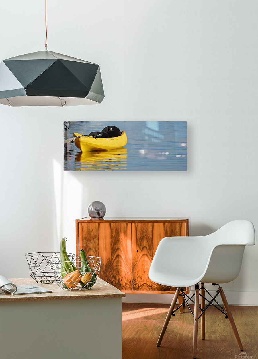 Yellow Kayak  HD Metal print with Floating Frame on Back