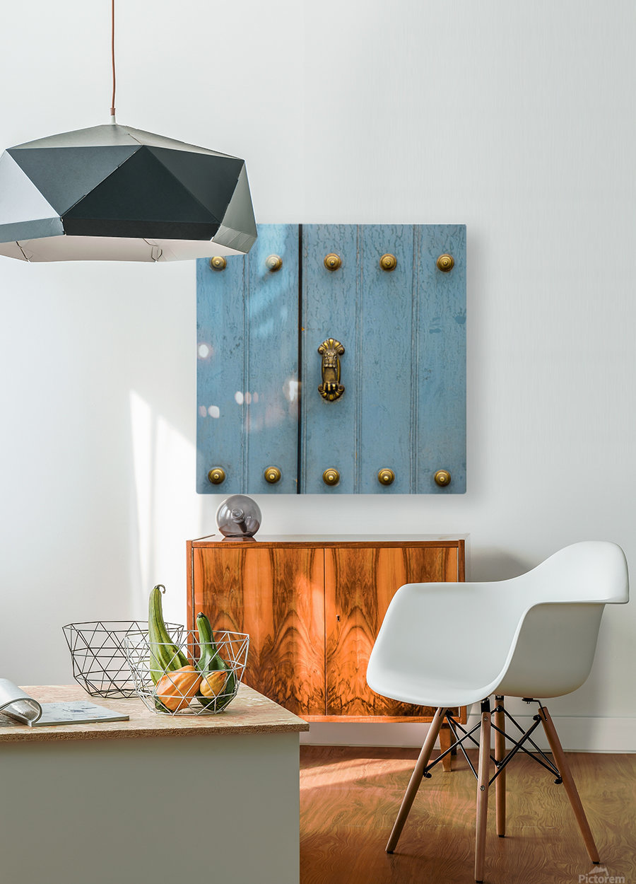 A Blue Door With Brass Decorative Knobs; Cusco, Peru  HD Metal print with Floating Frame on Back